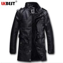 Lkbest 2017 Длинные PU кожаная мужская Черная куртка Толстая зимняя куртка мужская теплая шерсть лайнер толстый байкерская куртка бренд пальто (PY12)