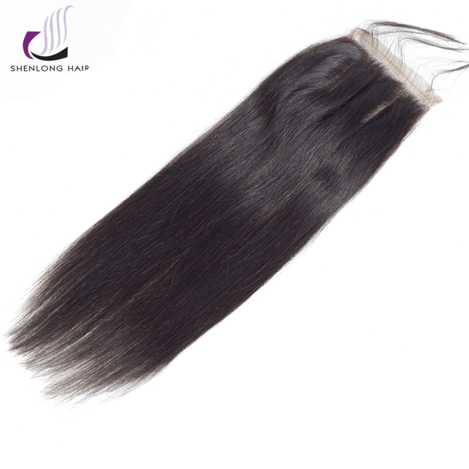 SHENLONG HAIR Peruvian Straight Hair Lace Closure Free/Middle/Three Part Non Remy Human Hair 4*4 Inch Swiss Lace Free Shipping ...