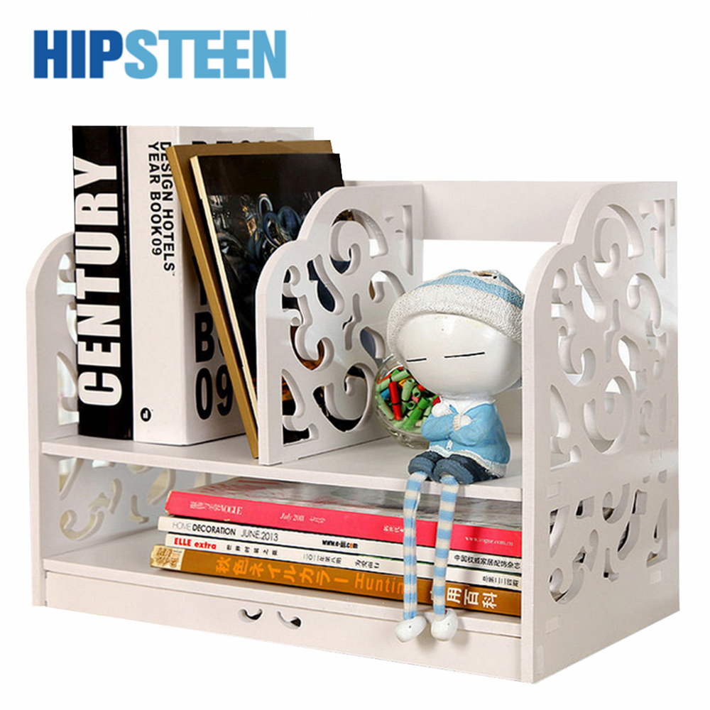 HIPSTEEN Creative Simple Tabletop Bookshelf Durable Combined Books Organizer Storage Shelf White