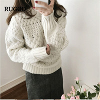 RUGOD 2019 Autumn Winter Women O Neck Long Sleeve Sweater Office Lady Solid Vintage Pullovers truien dames