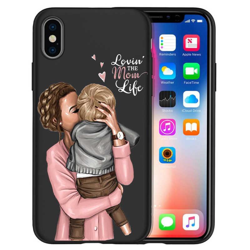 Coque Voor iPhone xr case iPhone 7 Case X XS MAX 8 6 6 S Plus 5 5 s SE super Moeder Meisje Bruin Haar Mama Baby Muis Etui Funda Cover