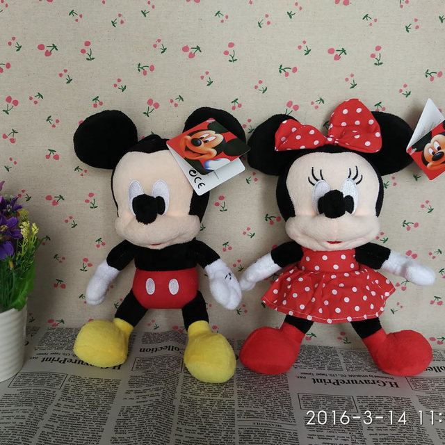 Free Shipping 28cm 1pairs Lovely Mickey Mouse And Minnie mouse plush Animal Toys,Mickey And Minnie plush dolls ,Christmas Gifts