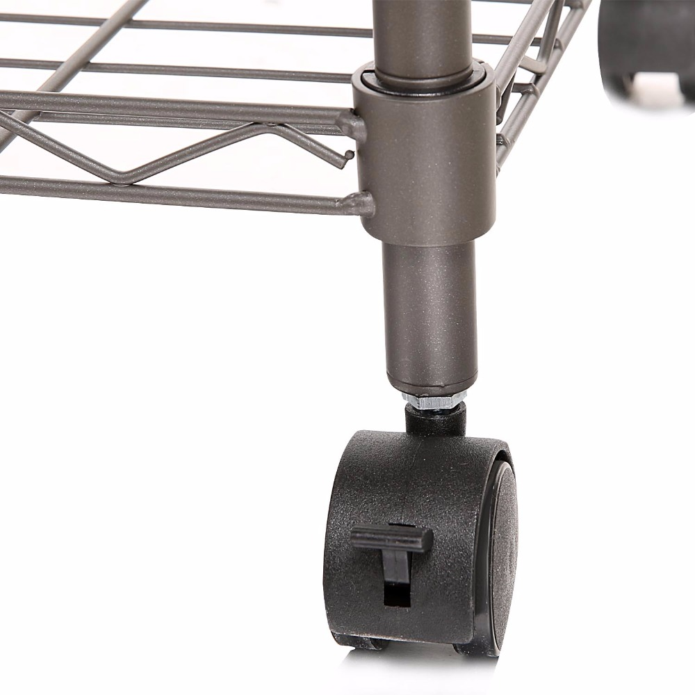 Homdox Classic Metal 5 Shelf Wire Shelving Rack Shelves with Wheels ...