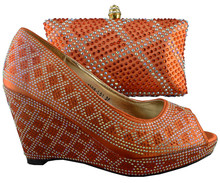 Nice Orange for 1308 L51size 38 42 High quality matching shoes and bag set Free shipping