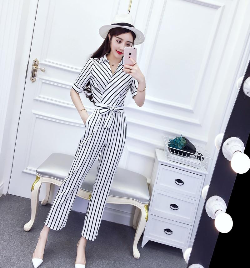Korean Fashion Chic V Neck Rompers Elegant Bow Pocket Striped Casual Brief Pocket Belt Rompers Womens Jumpsuit 8