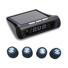 Солнечная энергия автомобильный TPMS система контроля давления в шинах цифровой ЖК-дисплей Автоматическая охранная сигнализация с 4 внешними датчиками