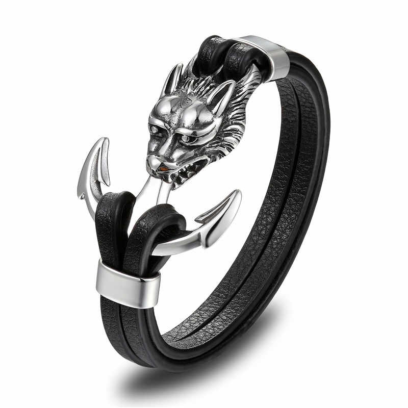 MKENDN New Fashion Men Genuine Leather Skull Anchor Bracelets Rock Punk Stainless steel Charms Cuff Bracelets Bangles