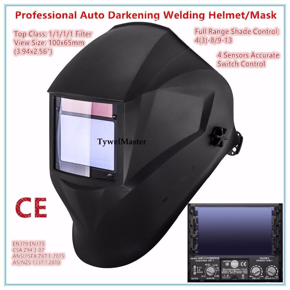 Сварочный шлем Премиум маска 100*65 мм 1111 4 Датчики фильтр сварщик шляпа кепки Солнечная Авто Затемнение MIG TIG шлифовальные 3-13 CE UL CSA