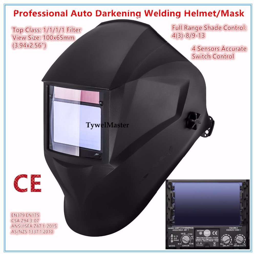 Welding Helmet Premium Mask 100*65mm 1111 4 Sensors Filter Welder Hat Cap Solar Auto Darkening MIG TIG Grinding 3-13 CE UL CSA solar auto darkening electric welding mask helmet welder cap welding lens eyes mask for welding machine and plasma cuting tool