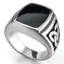 Женщин людей бесконечные узел черной эмалью перстень нержавеющей стали 316L байкер кольцо серебряный тон оптовая продажа бесплатная доставка