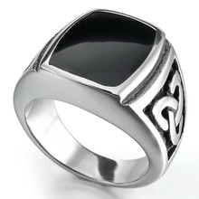 Men's Women's Infinite Knot Black Enamel Signet 316L Stainless Steel Biker Ring Silver Tone Wholesale Free Shipping