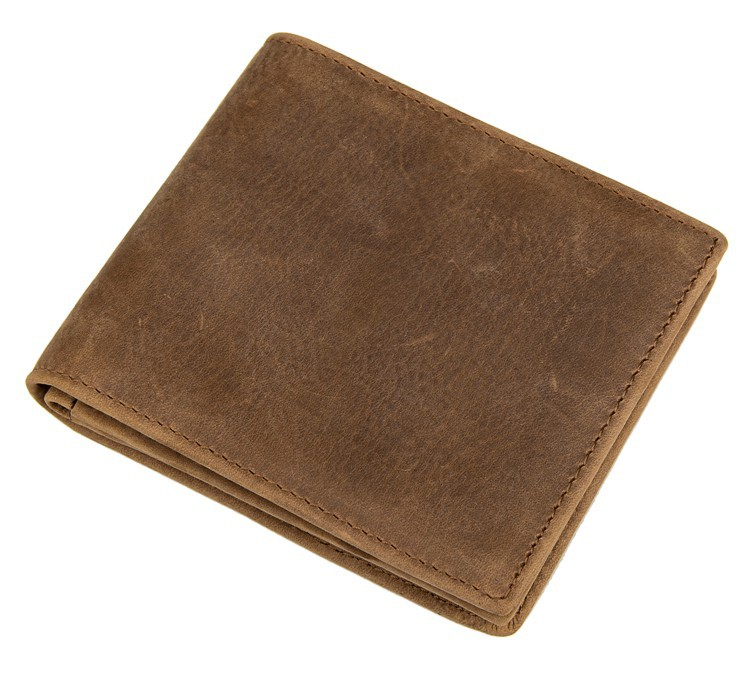 Free Shipping 100% Genuine Leather Fold Short Wallets For Men Brown Color Billfolds # 8056B