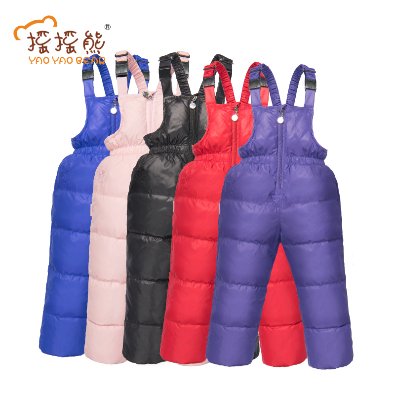 Boys Girls Winter Feather Pants Warm Overall Children Clothes 5 Colors Suit 18m-5y Kids Wear Snow Ski Trousers YAOYAO BEAR Brand 3color winter boys girls children