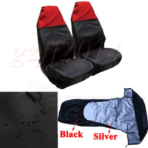 Details about 2 x Universal Front Car Seat Protectors Covers Pair Water Resistant Black/ ...