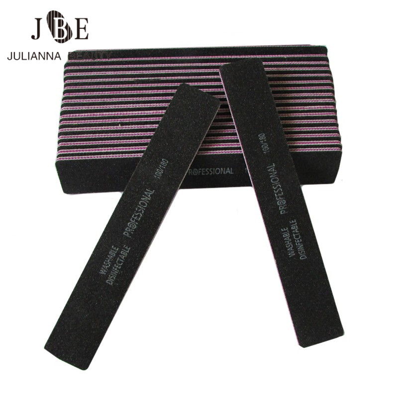 50Pcs/lot Thick Black Straight Wide Nail File Double Side 100/180 Sandpaper Washable Nail Art File Buffer Manicure Pedicure Tool