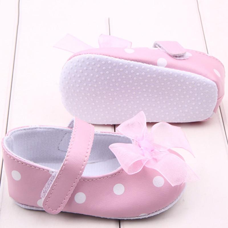 2017 Pink Ribbon Princess Lace Baby Polka Dot Shoes Newborn Girl First Walkers Anti-skid Shoes Hot Selling