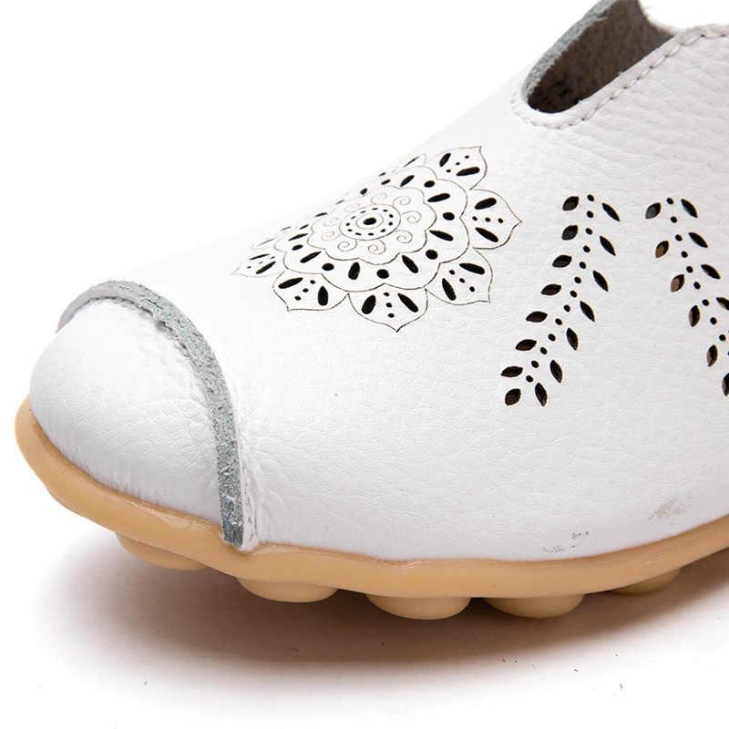 Schoenen Vrouwen Flats Echt Lederen Oxfords Schoenen Slip Op Ballet Flats Verpleegkundige Casual Schoenen Holle Vrouwen Mocassins Loafers 2019 Nieuwe
