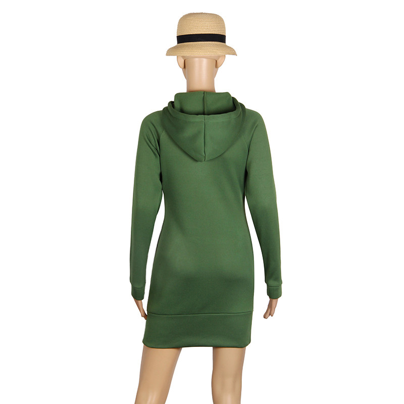 Warm Winter High Quality Hooded Dresses Pocket Long Sleeved Casual Mini Dress Sportwear Women Clothings LX130 22