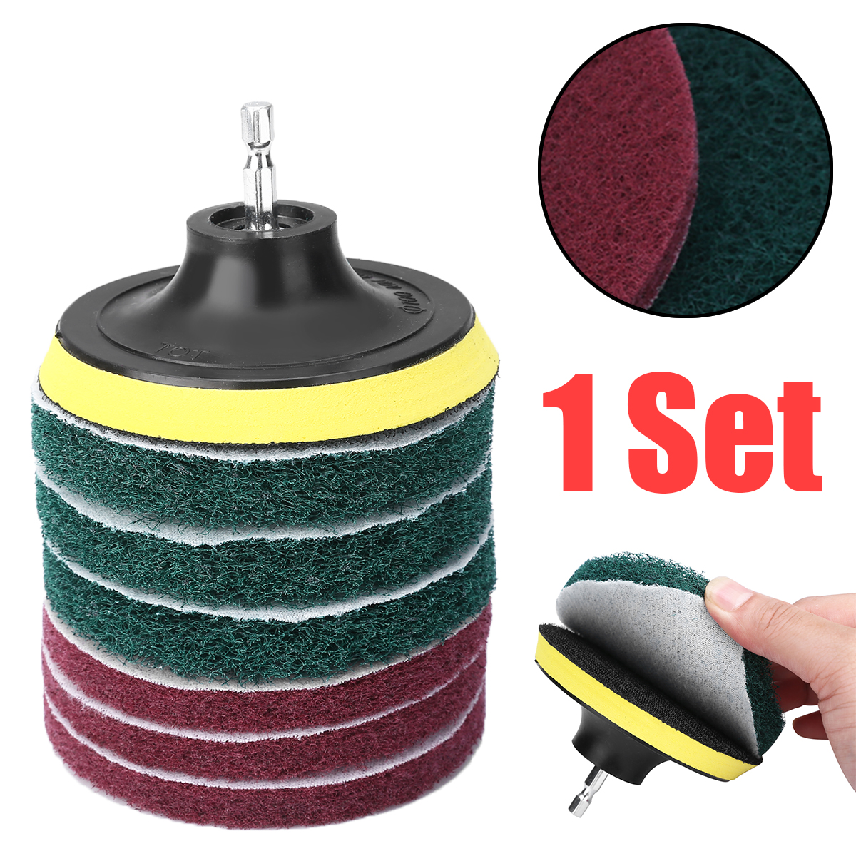 1set Drill Scouring Pads 6.35mm Hex Rod 5 inch Sticky Disk Cleaner Sanding Attachment for Tiles Sinks Bathtub Cleaning Kit
