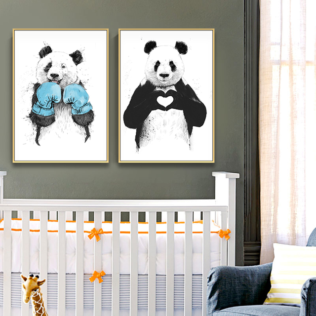 Lovely Animals Cute Panda Heart Loves Posters