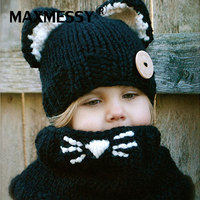 MAXMESSY Small Kitten Ear Cute Child Wool Knit Hat Collar Two Sets Of Autumn And Winter