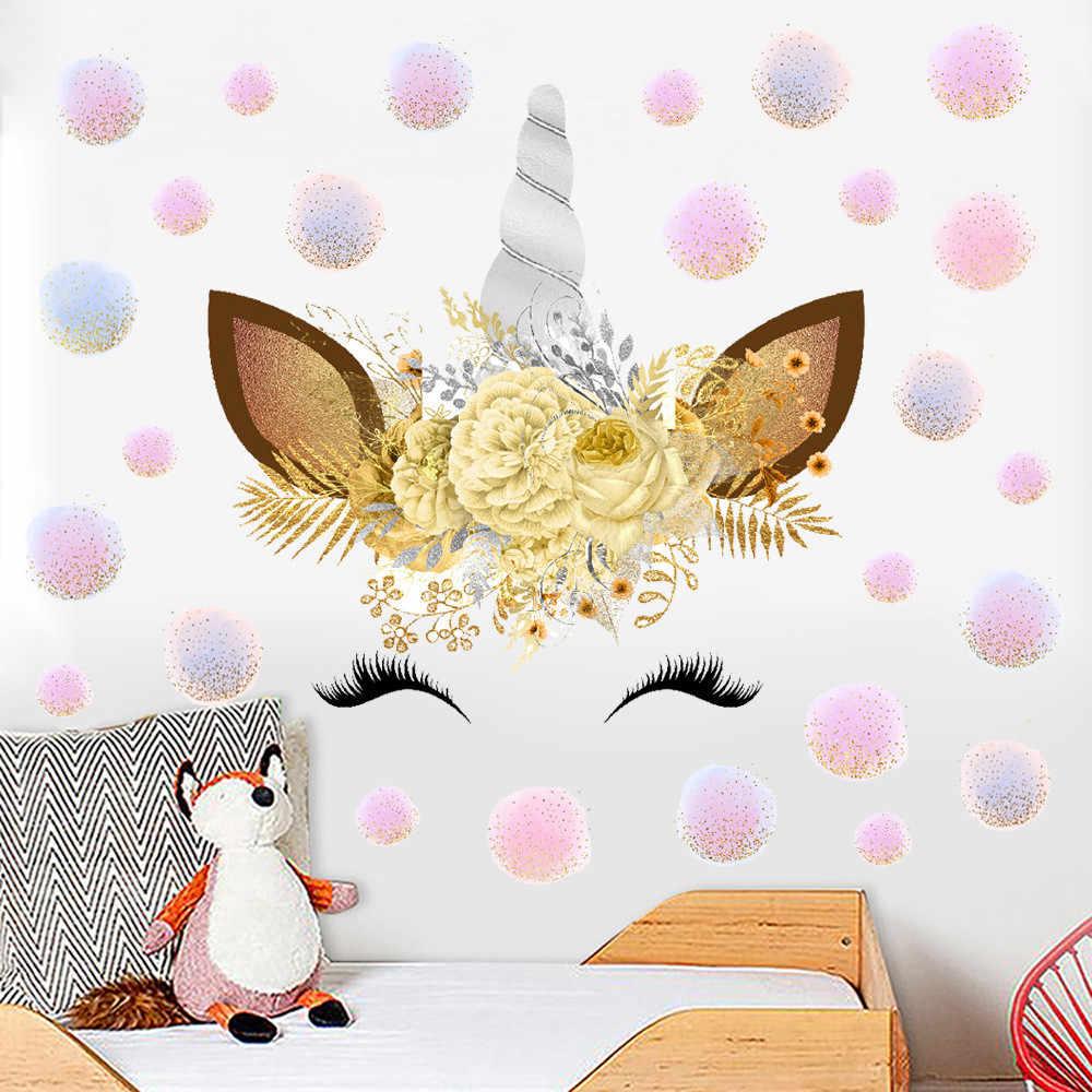 Цветы Единорог стикер на стену s 3D наклейки на стену детская комната отделка детской стены для дома DIY Единорог вечерние принадлежности