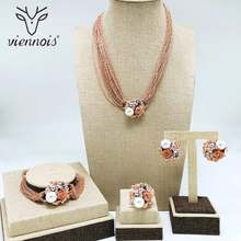 Viennois Simulated Pearl Necklace Set For Women Rose Gold & Silver Zinc Alloy Flower Wedding Paved Bridal Zircon Jewelry 2019(China)