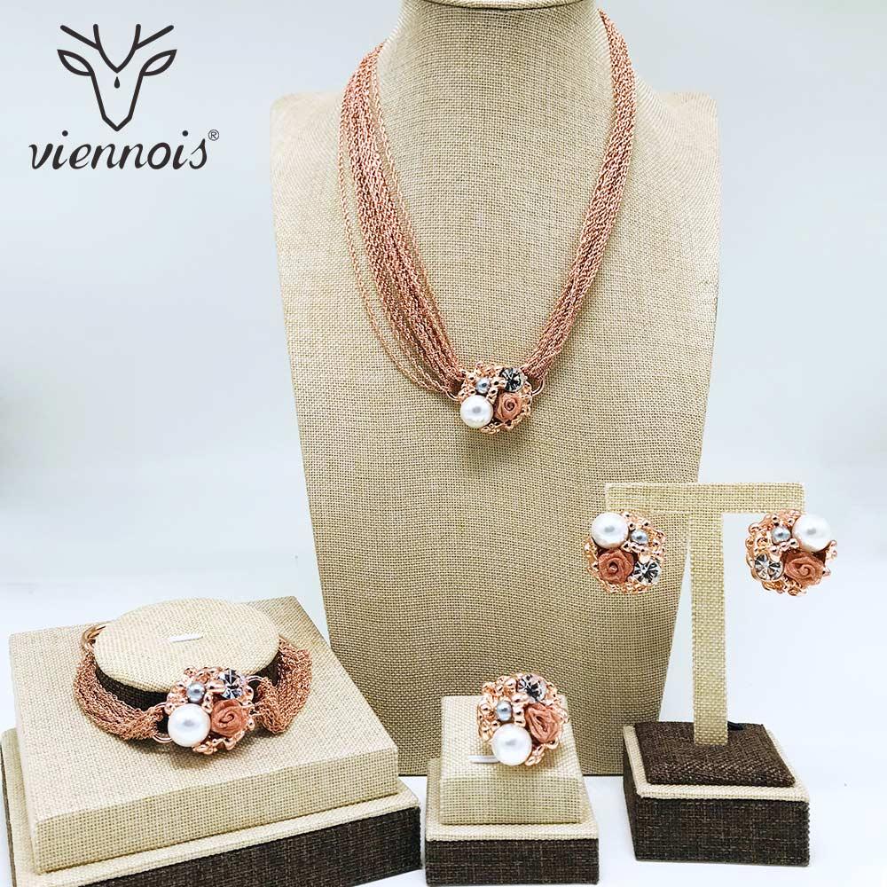 Viennois simulé collier de perles ensemble pour les femmes or Rose et argent en alliage de Zinc fleur de mariage pavé de mariée Zircon bijoux 2019