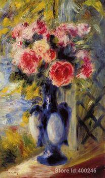 paintings of Pierre Auguste Renoir Bouquet of Roses in a Blue Vase reproduction Oil on canvas High quality Hand painted
