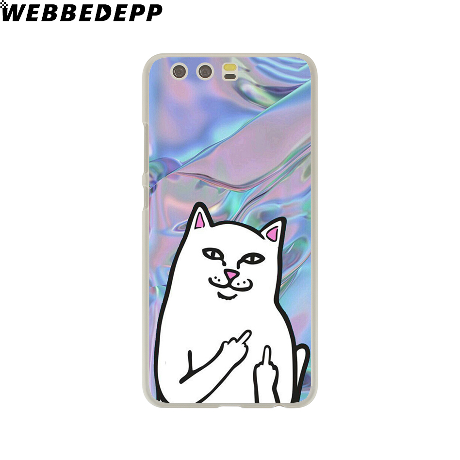 Webbedepp милые популярные средний палец Кошка Жесткий футляр для Huawei P20 Pro Smart P10 P9 Lite 2016/2017 P8 lite 2015/2017