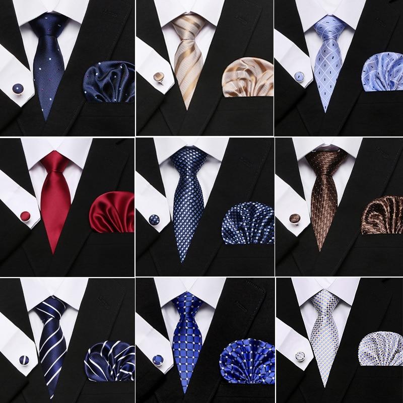 New Plaid Men Ties Set Extra Long Size 145cm*7.5cm Necktie Navy Blue Red Paisley Silk Jacquard Woven Neck Tie Suit Wedding Party