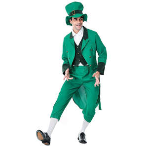 Men's holiday suit costume St. Patrick's Day men's four-piece suit holiday fun winter show coat clothes Trendy hip hop christmas