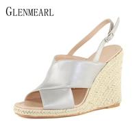 Women Sandals Summer New Leather Shoes Woman High Heels Open Toe Strap Flip Flops Platform Wedge