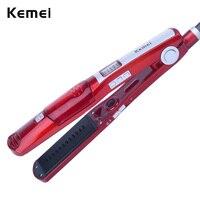 Kemei3011 Steam Dry Flat Iron Hair Straighteners Professional Hairstyling Portable Ceramic Hair Straightener Brush Styling Tools