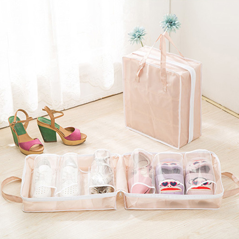 Dustproof Oxford Portable Folding Shoes Storage Bag Travel Tote Zipper Pouch Waterproof Organizer U1758