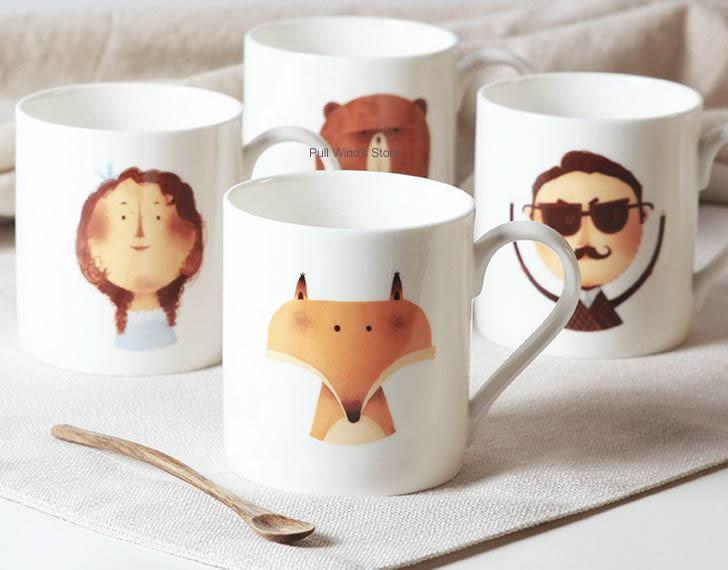 Cute cartoon mug Animal ceramic Child cup Personalized ceramic cup ceramic Fox Bear cup Coffee cartoon