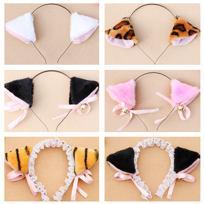 Plush animal cat Ear Headband with bell Party cosplay hairband decoration white black Face painting products for children adult