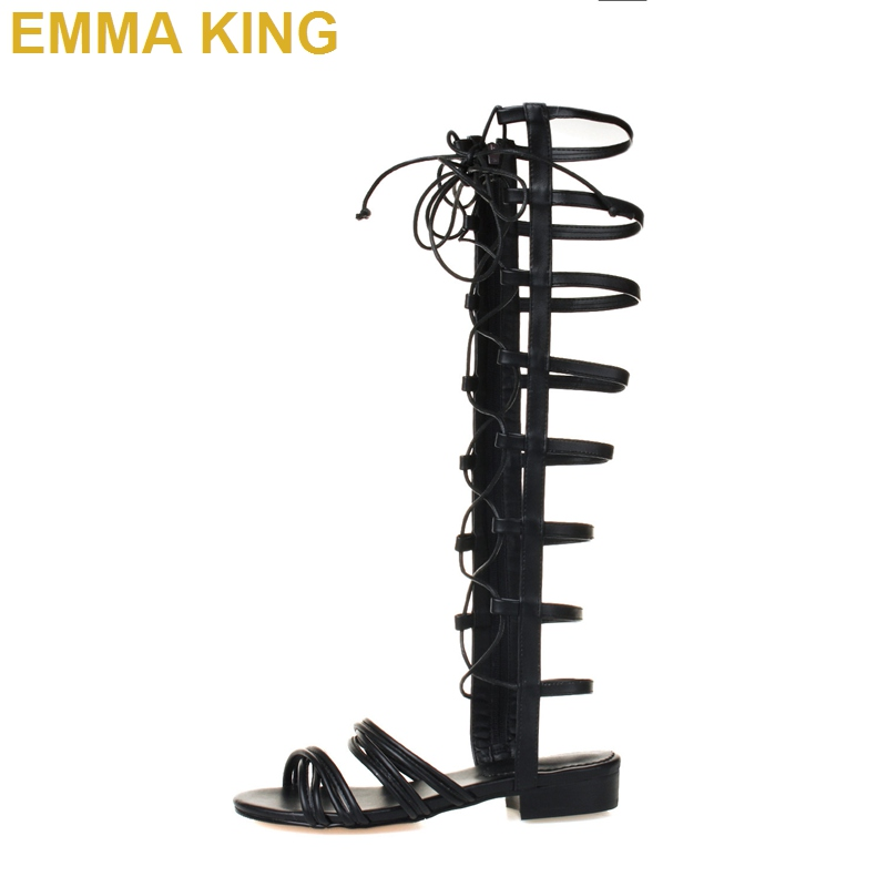 Sexy Cut out Knee High Gladiator Sandals Boots 2019 New Designer Flat Shoes Summer Sandals Rome Style Cross-tied Lace Up SandalsSexy Cut out Knee High Gladiator Sandals Boots 2019 New Designer Flat Shoes Summer Sandals Rome Style Cross-tied Lace Up Sandals