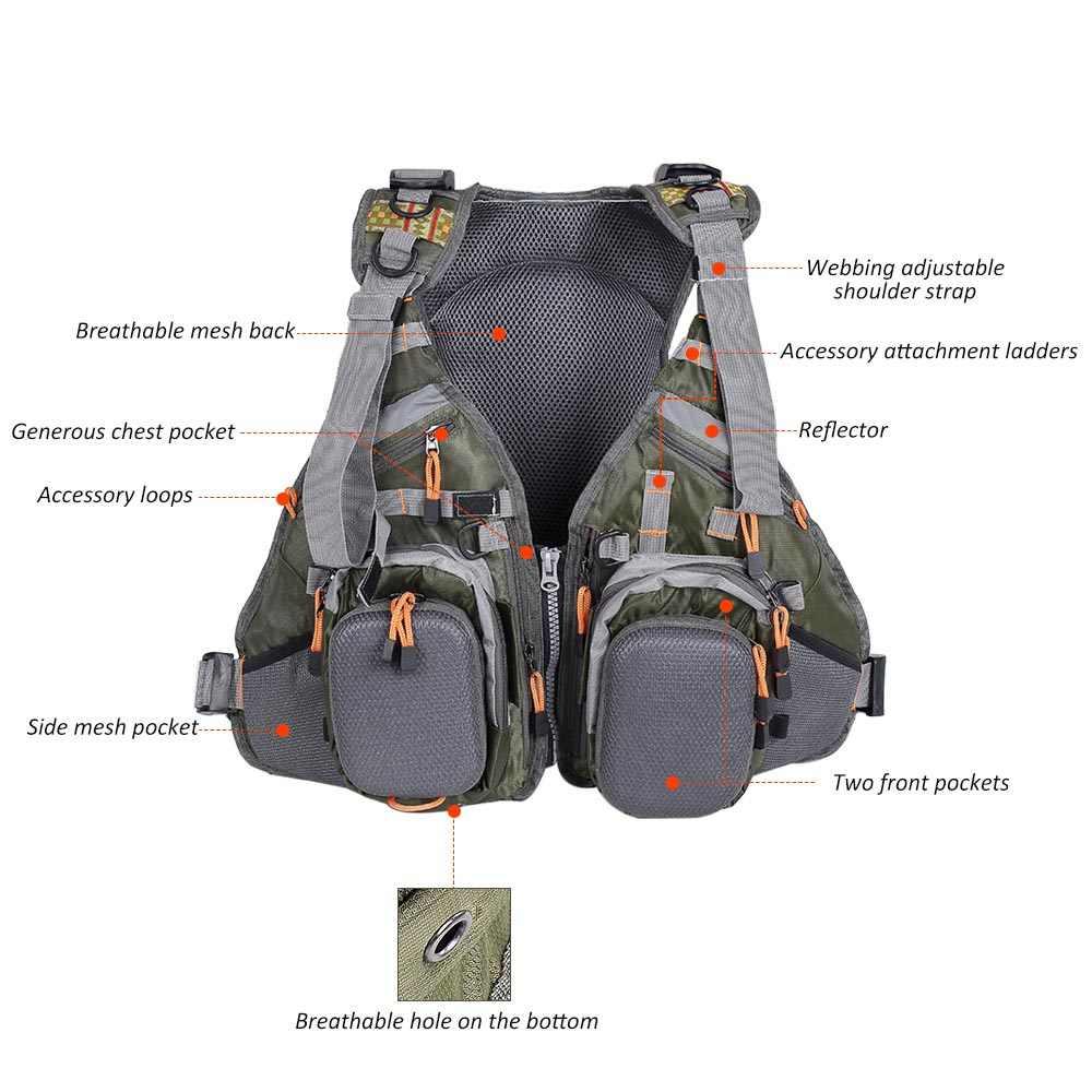 Lixada 3 в 1 жилет для нахлыстовой рыбалки с рюкзаком комбо армейский зеленый рыболовный жилет Летающая одежда для рыбалки для Pesca Colete Salva-Vidas