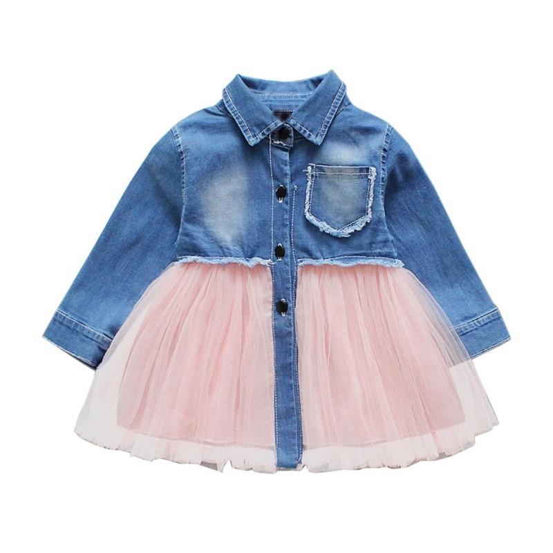 Kinderkleding Baby Meisjes Zomer Nieuwe Kids Prinses Jurken Katoen Denim Lange Mouwen Casual Denim Mesh Zonnejurk Outfits Het Speeksel Verversen En Verrijken
