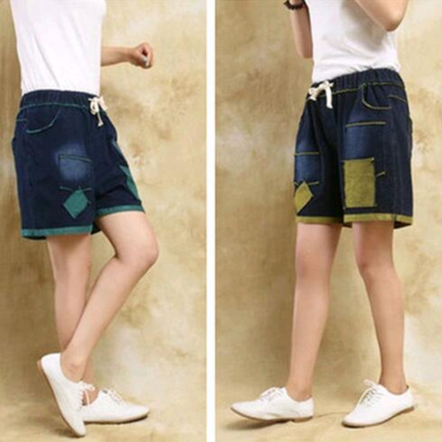 New 2016 Fashion All-match 100% Knitted Cotton Denim Applique Loose High Waist Shorts Female Casual  Shorts Thin