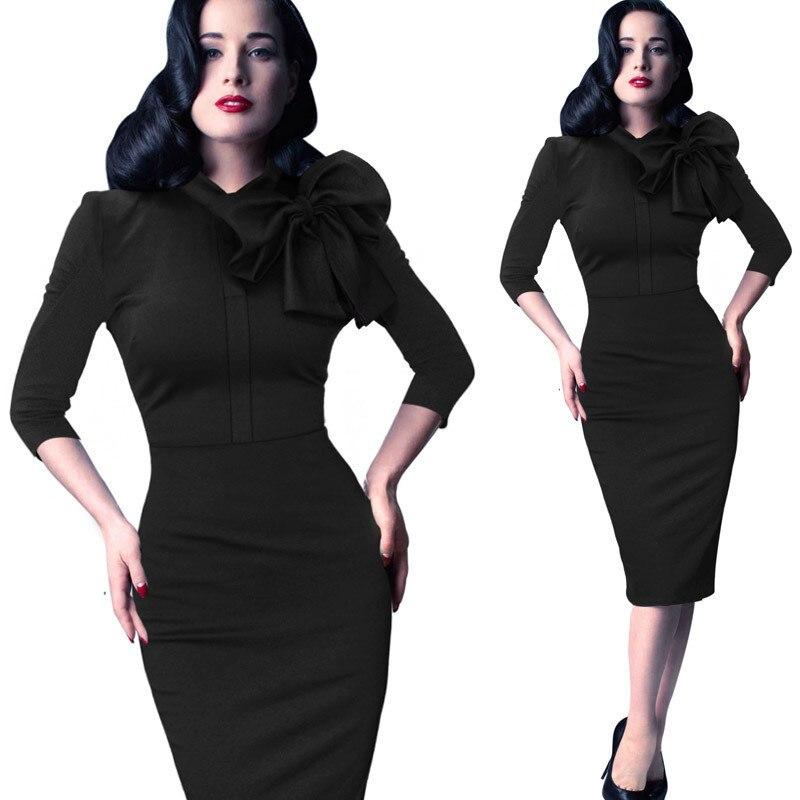 Più il Formato 3XL Abbigliamento Donna Elegante Vintage Pinup Bow Casual  Lavoro Ufficio Matita Partito Aderente Fodero del Vestito 2018 Autunno  Inverno 67751bfd9e7