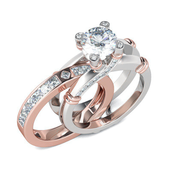 Hutang Luxury 2Pcs Rose Gold 925 Sterling Silver Wedding Ring Sets 4.66ct Simulated Diamond CZ Engagement Fine Jewelry for Women