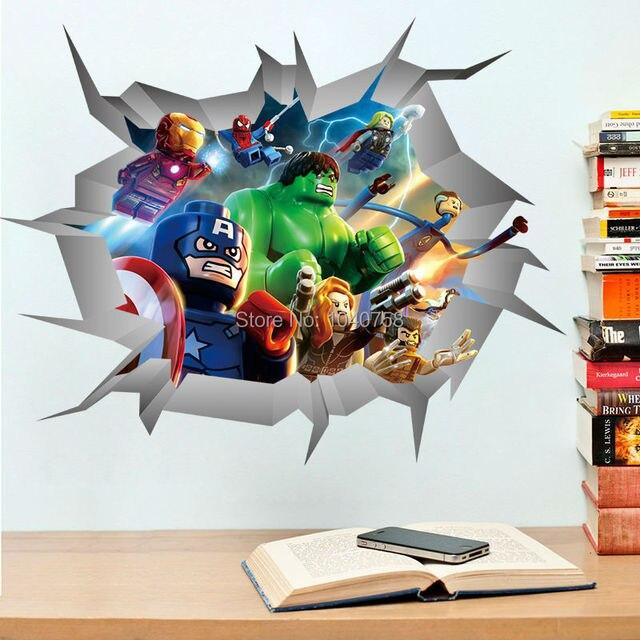 Мстители 3D через стены наклейки Lego супергерои украшения дома на стены искусство для детей детской комнате нарушение обои плакаты