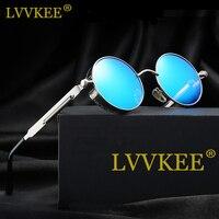 LvvkeeLFashion Polarized Sunglasses Women Steampunk Sunglasses Goggles Men Round Brand Design Pink Oculos Eyewear Metal Fishings