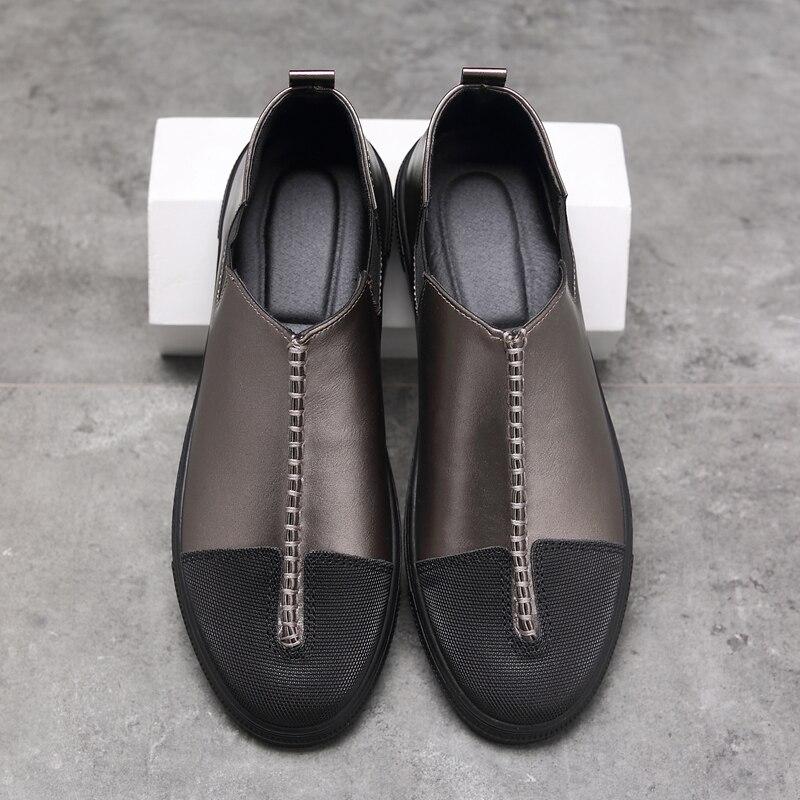 Hommes Marche Slipon Automne Respirant Footwears Cuir gun Color Confortable Sneakers Mode Printemps Décontractée Chaussures Mocassins En D'eau Black white rhQdsCxtB