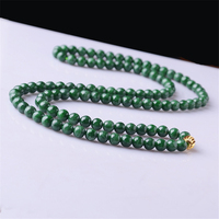 2019 new jade necklace ice oil green bead chain Hand carved natural jewelry with certificate