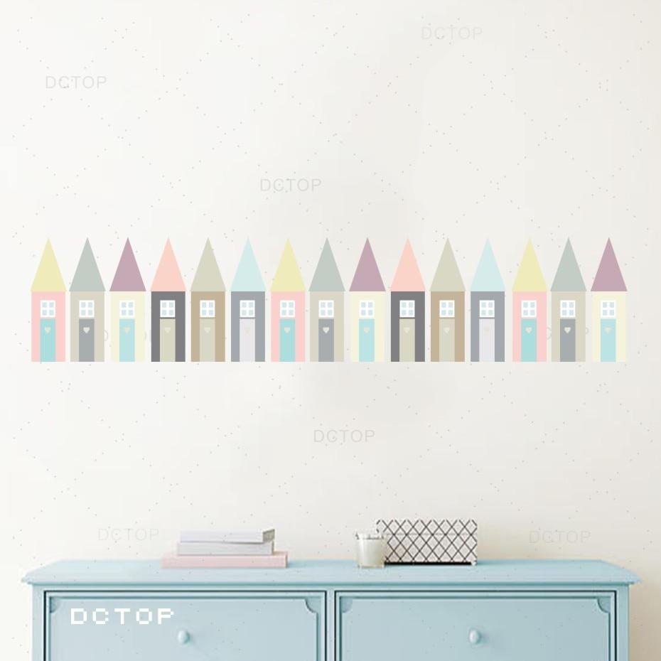 Creative Cartoon House Wallpaper Colorful Nursery Art Decal DIY Home Decor Waterproof High Quality Wall Sticker Kids Room Paster