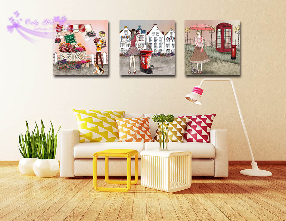 Canvas Painting Art Pictures Wall Decor Home Art Pretty Girl Walking ...