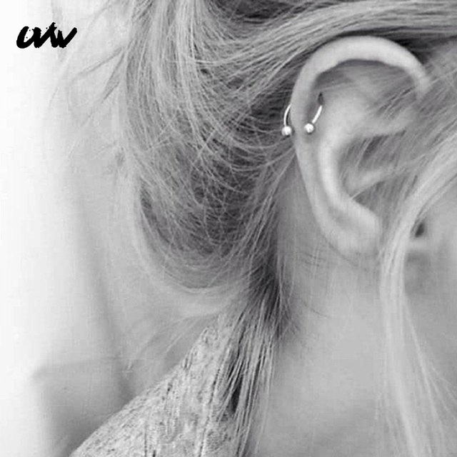 UVW037 Trendy Surgical Steel C Shape Segment Tragus Fake Septum Nose Rings Stud Helix Piercing Body Jewelry